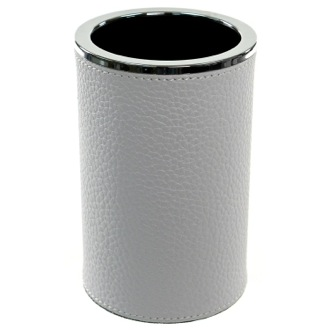 Round Toothbrush Holder Made From Faux Leather in White Finish Gedy AC98-02