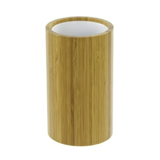 Round Natural Wood Toothbrush Holder Gedy AL98-35
