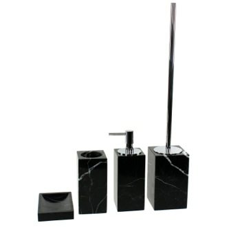 Bathroom Accessory Set Black Marble Bathroom Accessory Set in 4 pieces, AN100-14 Gedy AN100-14
