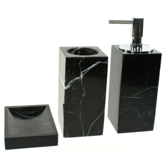 Bathroom Accessory Set Black Marble Bathroom Accessory Set in 3 pieces, AN200-14 Gedy AN200-14