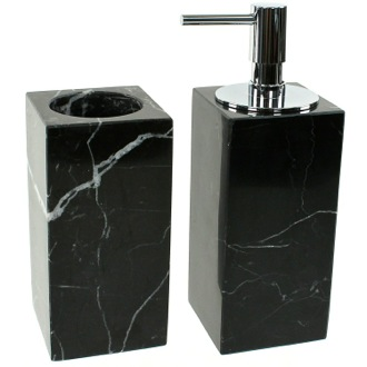 Black 2 Piece Marble Bathroom Accessory Set Gedy AN500-14