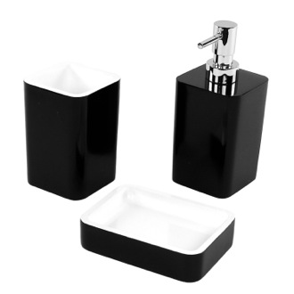 Bathroom Accessory Set 3 Piece Black Thermoplastic Accessory Set ARI200-14 Gedy ARI200-14