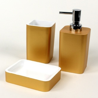 Bathroom Accessory Set Gold Accessory Set Made of Thermoplastic Resins ARI200-87 Gedy ARI200-87