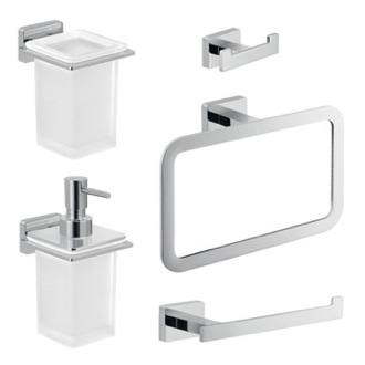 Complete 5 Piece Bathroom Accessory Set Gedy ATN103