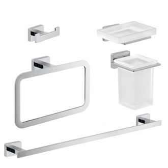 Chrome Brass and Frosted Glass Bathroom Accessory Set Gedy ATN105