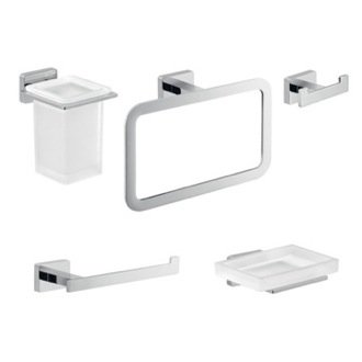 Five Piece Chrome Bathroom Accessory Set Gedy ATN113