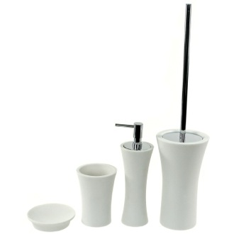 Contemporary 4 Piece Bathroom Accessory Set in White Gedy AU100-02