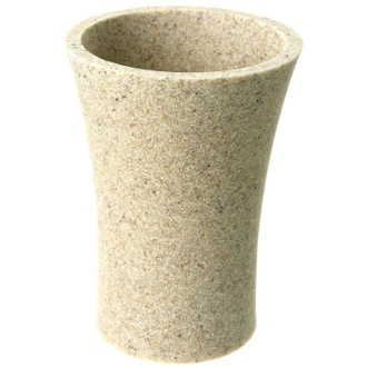 Round Toothbrush Holder Made From Stone in Natural Sand Finish Gedy AU98-03