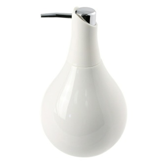 Soap Dispenser White Colored Ceramic Pottery Round Soap Dispenser Gedy AZ80-02