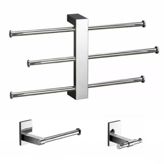 Bathroom Accessory Set Wall Mounted 3 pc Set With Adjustable Towel Rack BR226 Gedy BR226