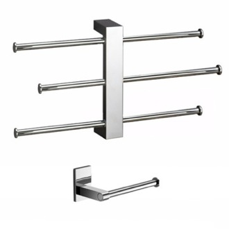 Bathroom Accessory Set Adjustable Towel Rack And Toilet Roll Holder Set BR524 Gedy BR524