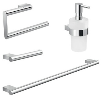 Chrome Brass and Frosted Glass Bathroom Accessory Set Gedy CAR104