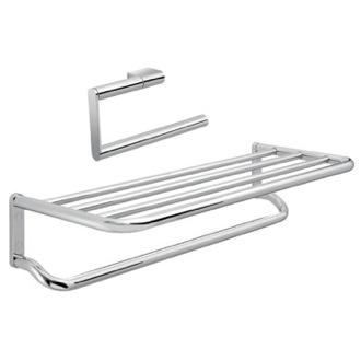 2 Piece Chrome Canarie Towel Accessory Set Gedy CAR516
