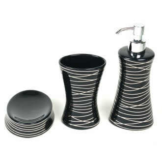 Diva Anthracite Silver Decorative Bathroom Accessory Set Gedy DV200-57