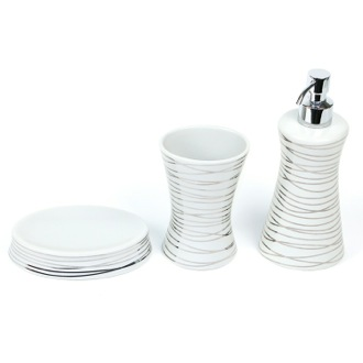 Diva Grey Silver Decorative Bathroom Accessory Set Gedy DV200-73