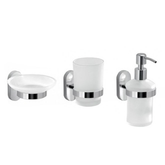 Wall Mounted Three Piece Accessory Set Made of Frosted Glass Gedy FEBO200-13