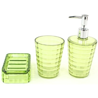Green 3 Piece Accessory Set in Thermoplastic Resins Gedy GL200-04