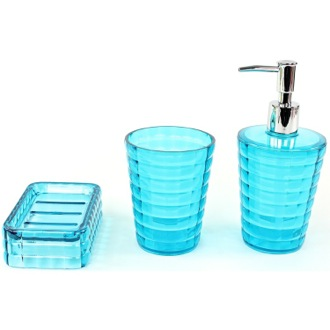 Nice Bathroom Accessory Set 3 Piece Accessory Set In Turquoise Gedy GL200 92