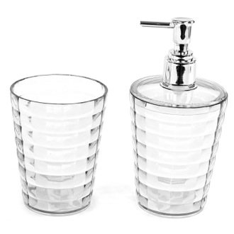 Transparent Toothbrush Holder and Soap Dispenser Accessory Set Gedy GL500-00