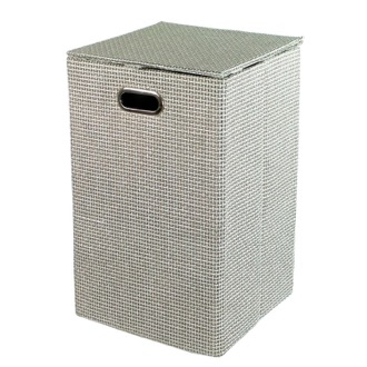 Grey Rectangular Laundry Basket in Raffia and Nylon Gedy LA38-08