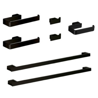 High Quality Bathroom Accessory Set His And Hers 7 Piece Black Hardware Set Gedy  LG1200 M4
