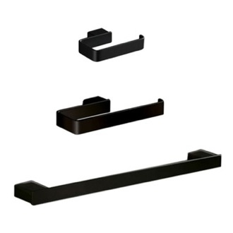 Bathroom Accessory Set 3 Piece Black Accessory Set LG1321-M4 Gedy LG1321-M4