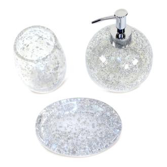 Bathroom Accessory Set Melissa Silver Accessory Set of Thermoplastic Resins ME200-73 Gedy ME200-73