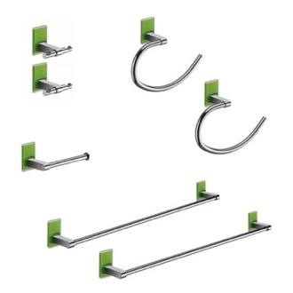 Green And Chrome His And Hers Accessory Set Gedy MNE1200-04