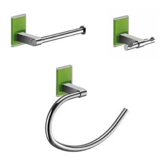 Green And Chrome 3 Piece Accessory Set Gedy MNE1326-04