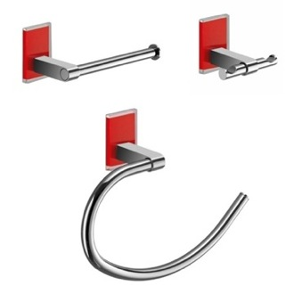 Red And Chrome 3 Piece Accessory Set Gedy MNE1326-06