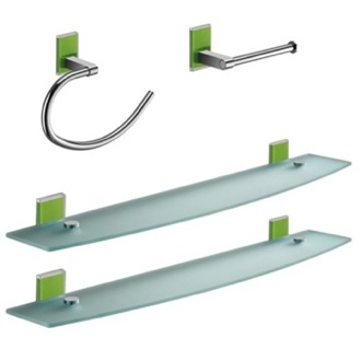 Green And Chrome 4 Piece Accessory Hardware Set Gedy MNE1419-04