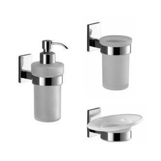 Wall Mounted 3 Piece Chrome Accessory Set Gedy MNE200-13