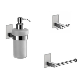 Wall Mounted 3 Piece White And Chrome Accessory Set Gedy MNE226-02
