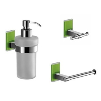 Wall Mounted 3 Piece Green And Chrome Accessory Set Gedy MNE226-04