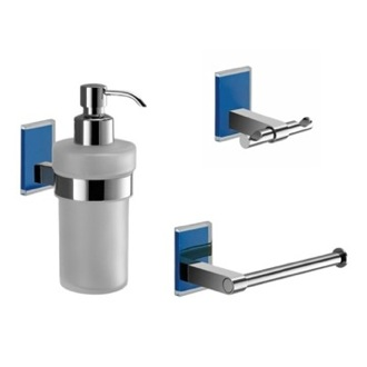Wall Mounted 3 Piece Blue And Chrome Accessory Set Gedy MNE226-05