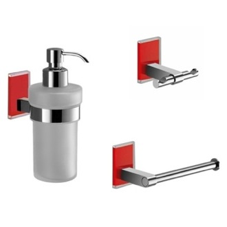 Wall Mounted 3 Piece Red And Chrome Accessory Set Gedy MNE226-06