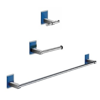 Wall Mounted 3 Piece Blue And Chrome Accessory Set Gedy MNE321-05