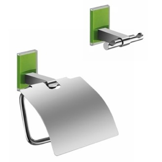 Green And Chrome Toilet Roll Holder And Robe Hook Accessory Set Gedy MNE325-04