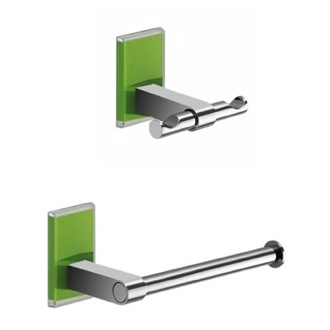 Green And Chrome Toilet Roll Holder And Robe Hook Accessory Set Gedy MNE326-04