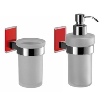 Red And Chrome Toothbrush Tumbler And Soap Dispenser Accessory Set Gedy MNE500-06