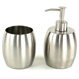 Bathroom Accessory Set Nigella Round Stainless Steel Bathroom Accessory Set  Gedy NI100
