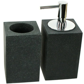 2 Piece Black Bathroom Accessory Set Gedy OL500-14