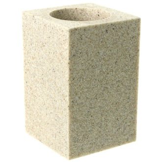 Toothbrush Holder Square Free Standing Toothbrush Tumbler in Natural Sand Finish OL98-03 Gedy OL98-03