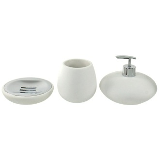 Bathroom Accessory Set Round 3 Piece White Bathroom Accessory Set, OP281-02 Gedy OP281-02