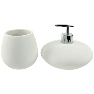 Bathroom Accessory Set Round 2 Piece White Bathroom Accessory Set, OP581-02 Gedy OP581-02