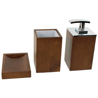 Bathroom Accessory Set Wooden 3 Piece Brown Bathroom Accessory Set ...