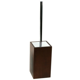 Brown Square Toilet Brush Holder Made of Wood Gedy PA33-31
