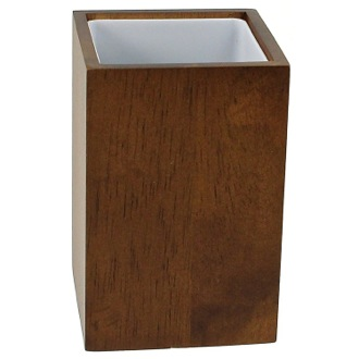 Toothbrush Holder Brown and Square Bathroom Tumbler in Wood PA98-31 Gedy PA98-31