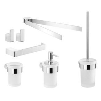 6 Piece Chrome Wall Mounted Bathroom Hardware Set Gedy PI1400
