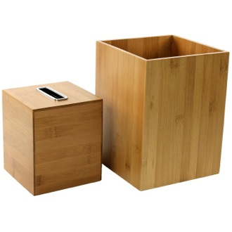Wooden 2 Piece Bamboo Bathroom Accessory Set Gedy PO1011-35